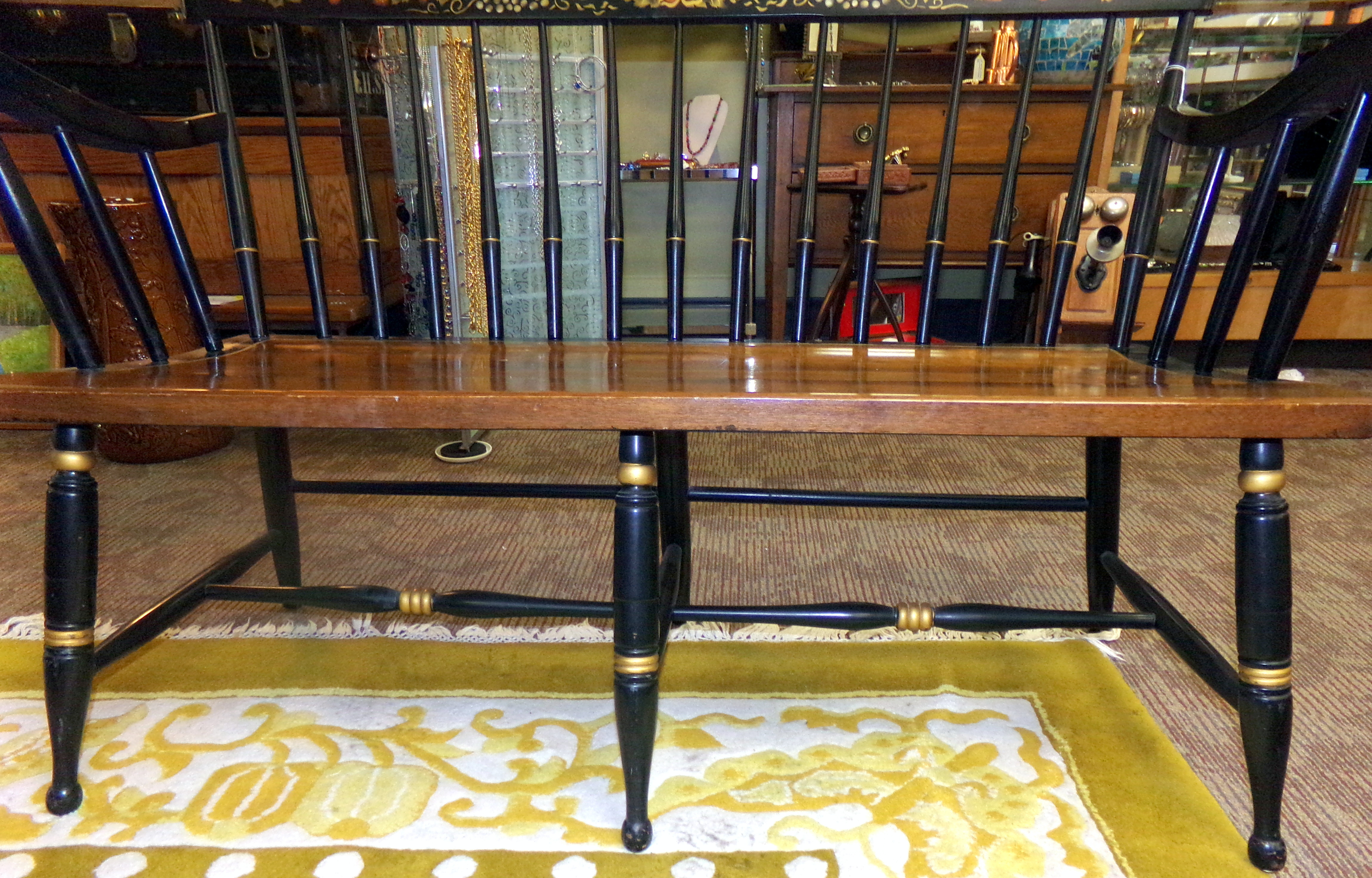 Stickley Style Spindle Back Black Settee Deacon S Bench W