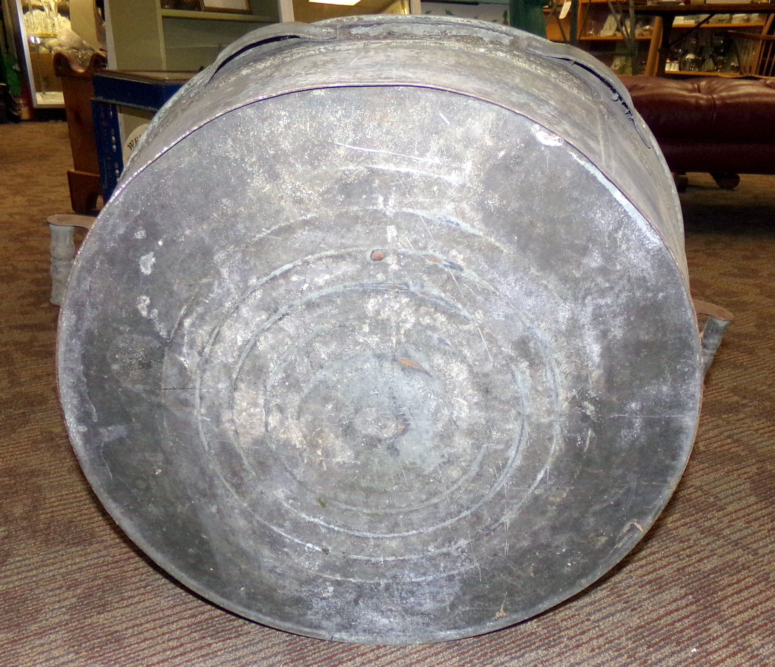 Vintage Extra Large Galvanized Metal Wash Tub Curiosity