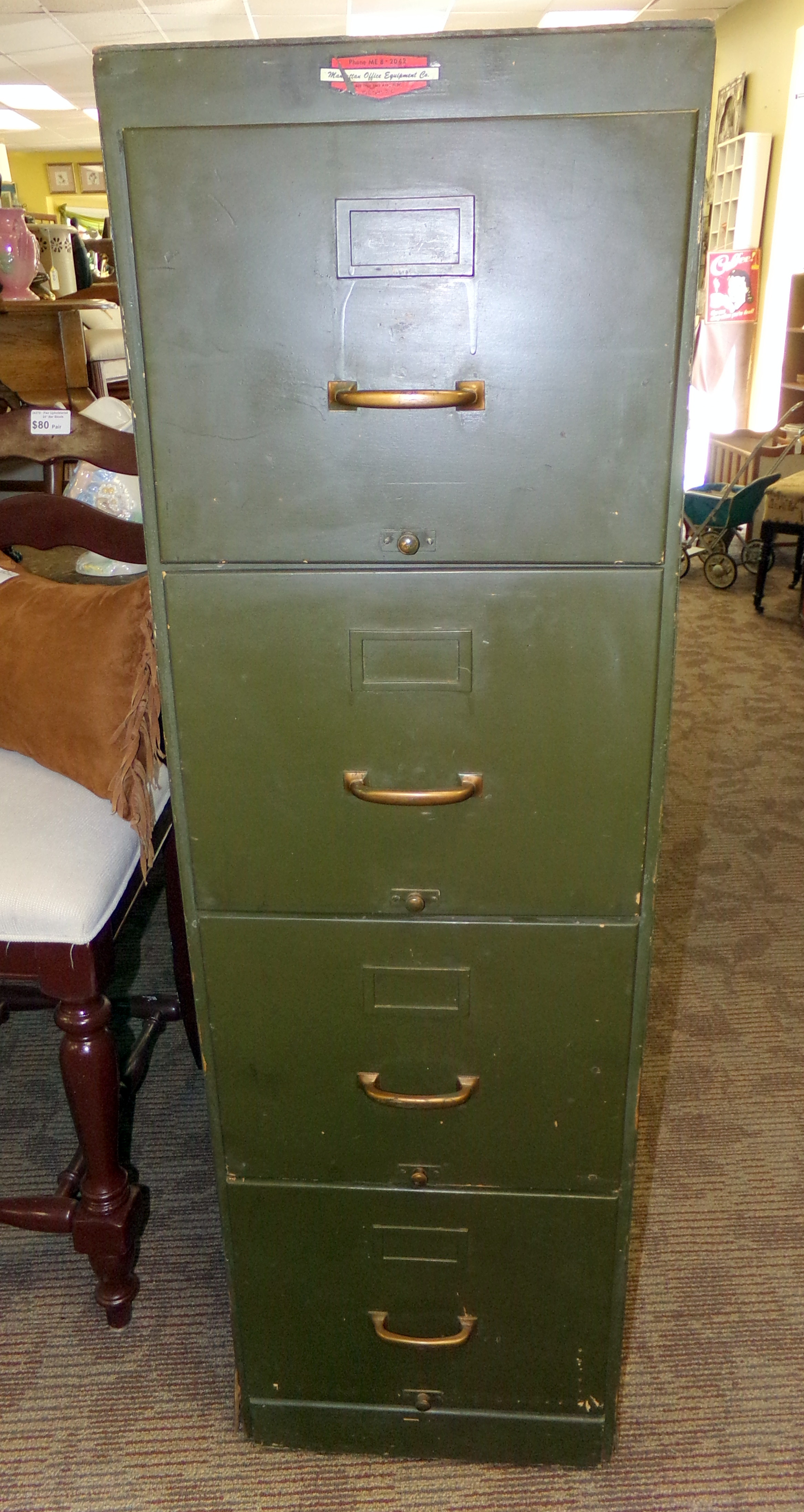 Vintage Army Green Government Wood Filing Cabinet