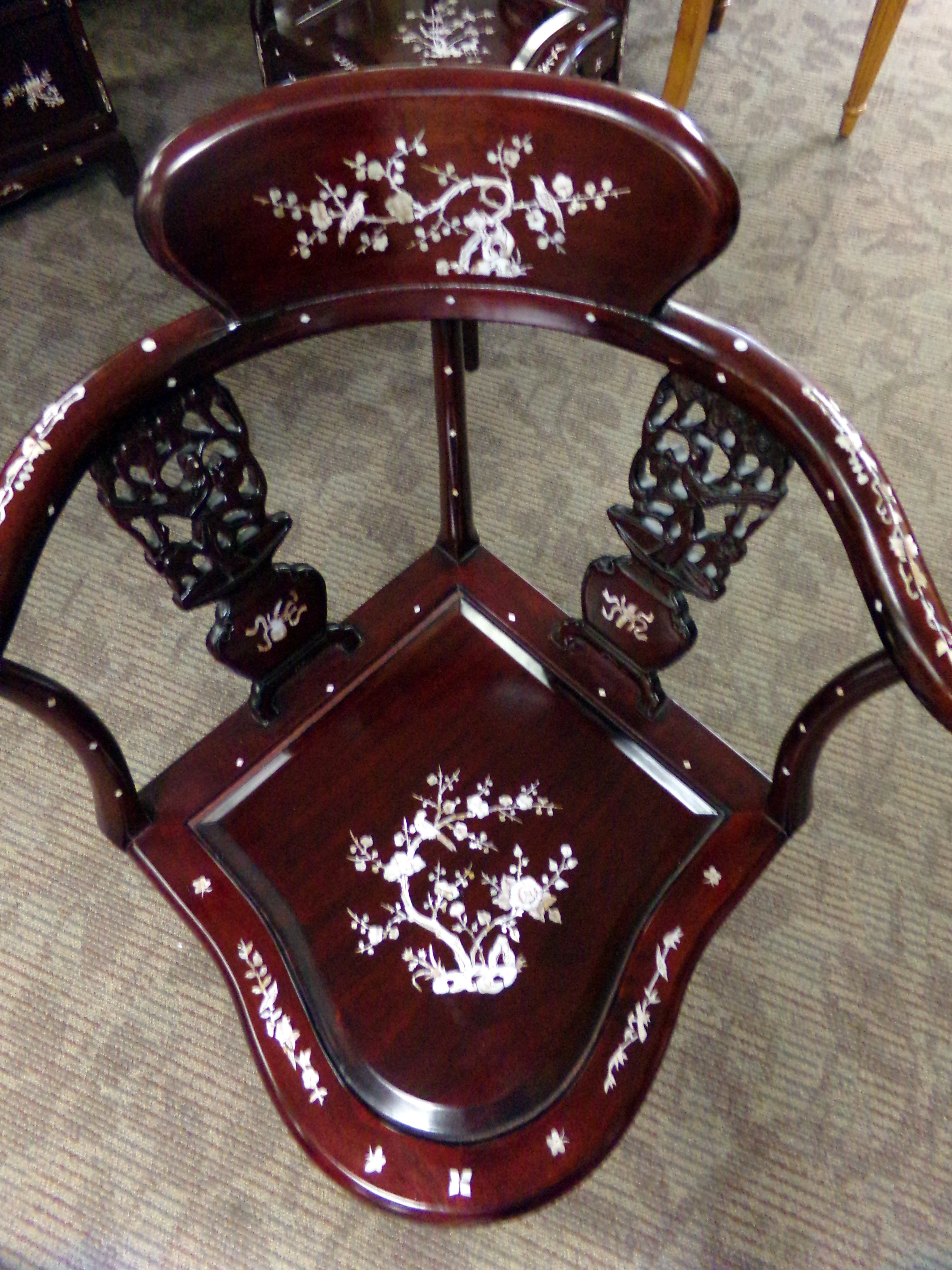 Cherry Asian Mother Of Pearl Inlay Secretary Desk Chairs