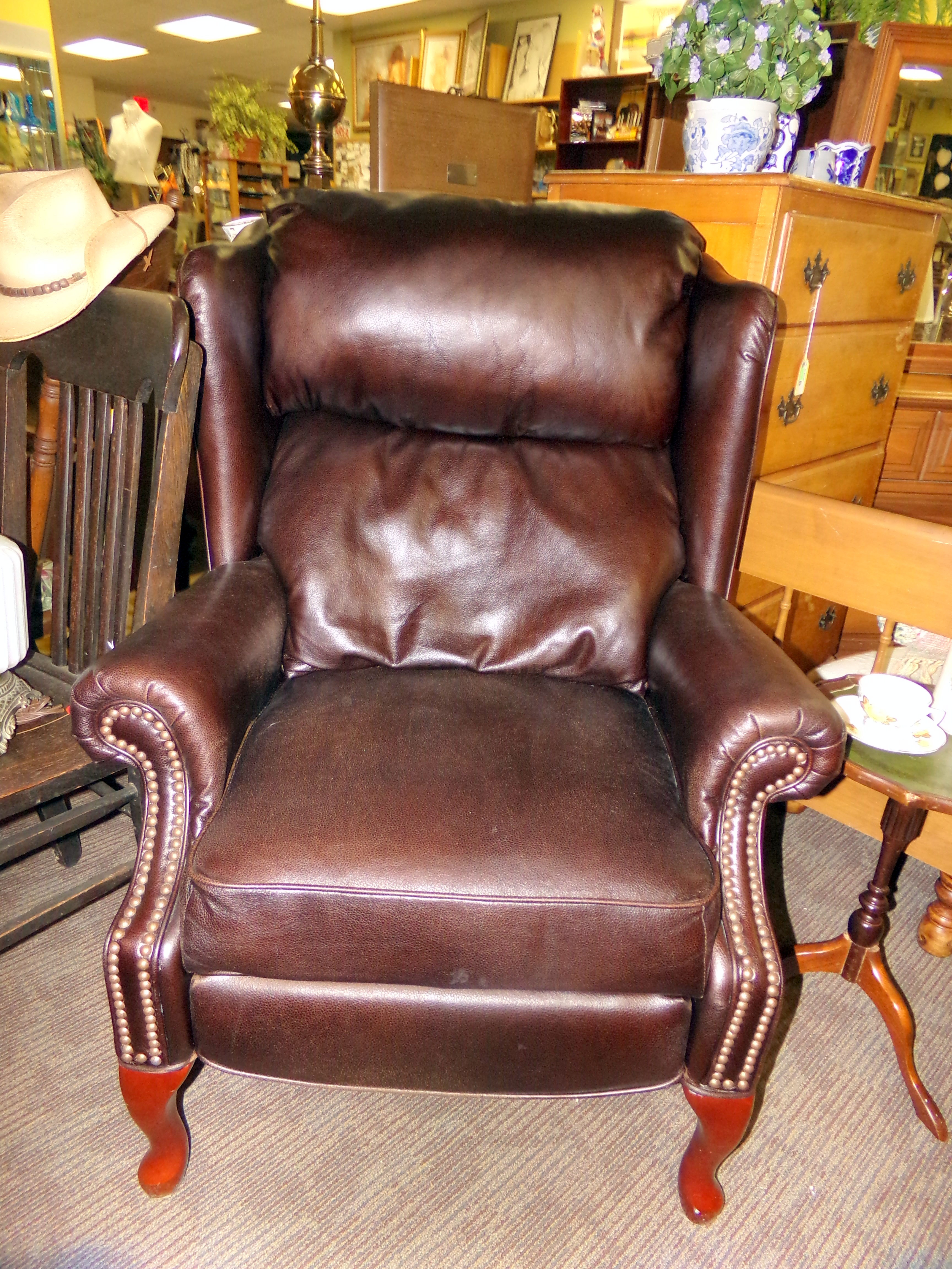 Lane Bonded Brown Leather Wingback Recliner Chair With