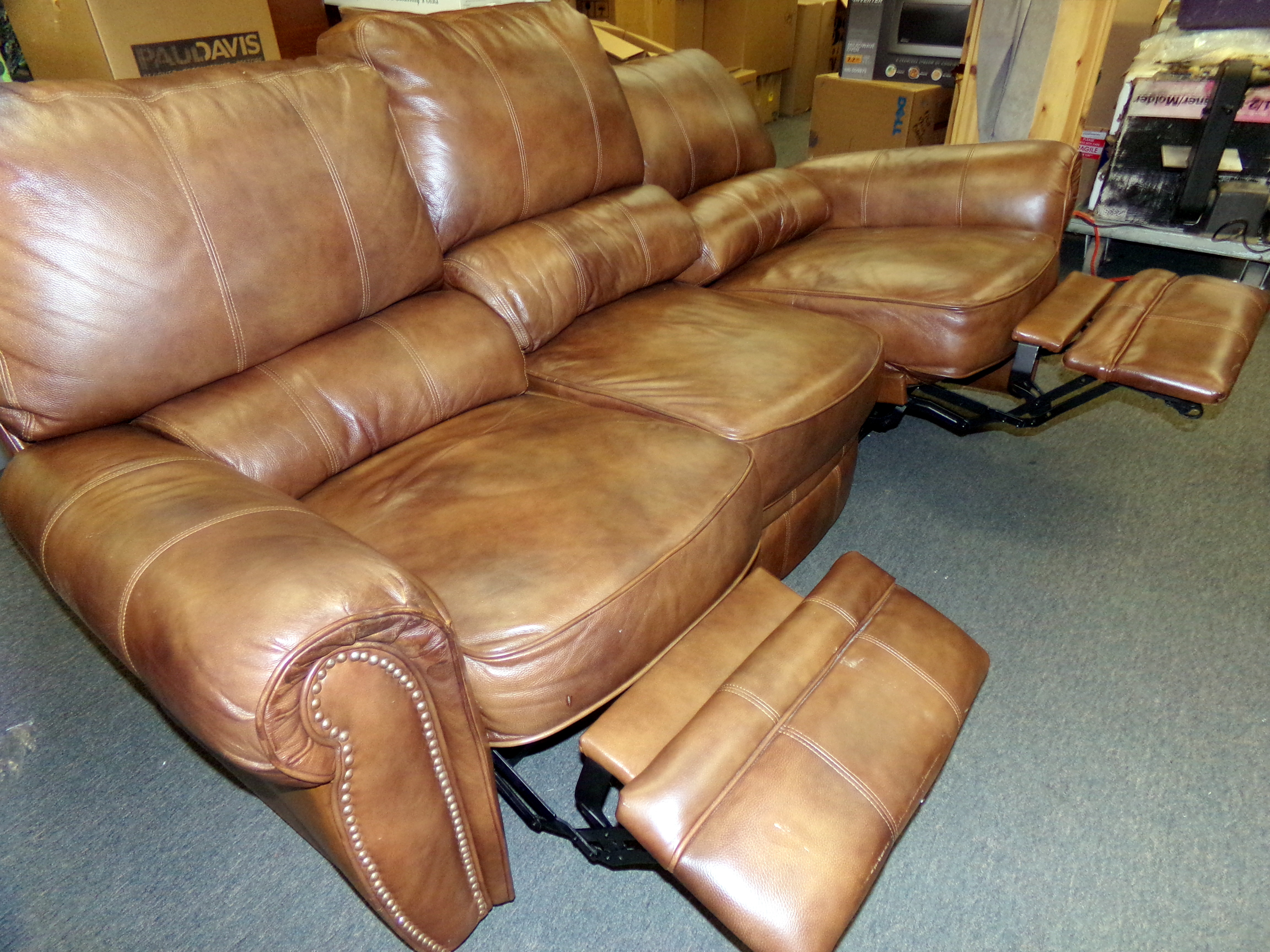 Lane Furniture Brown Leather Electric Recliner Couch Sofa