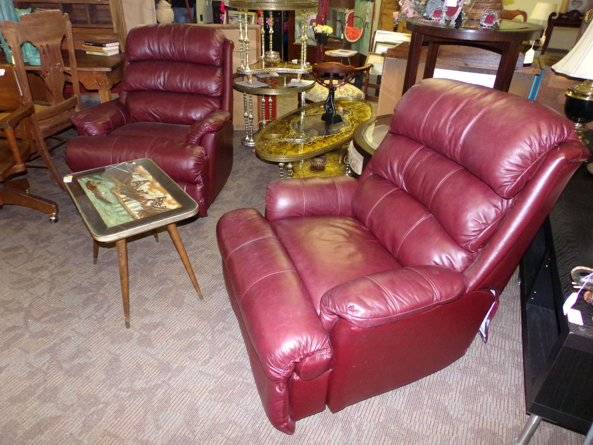 Lane Swivel Rocker Recliner Chair Burgundy Leather