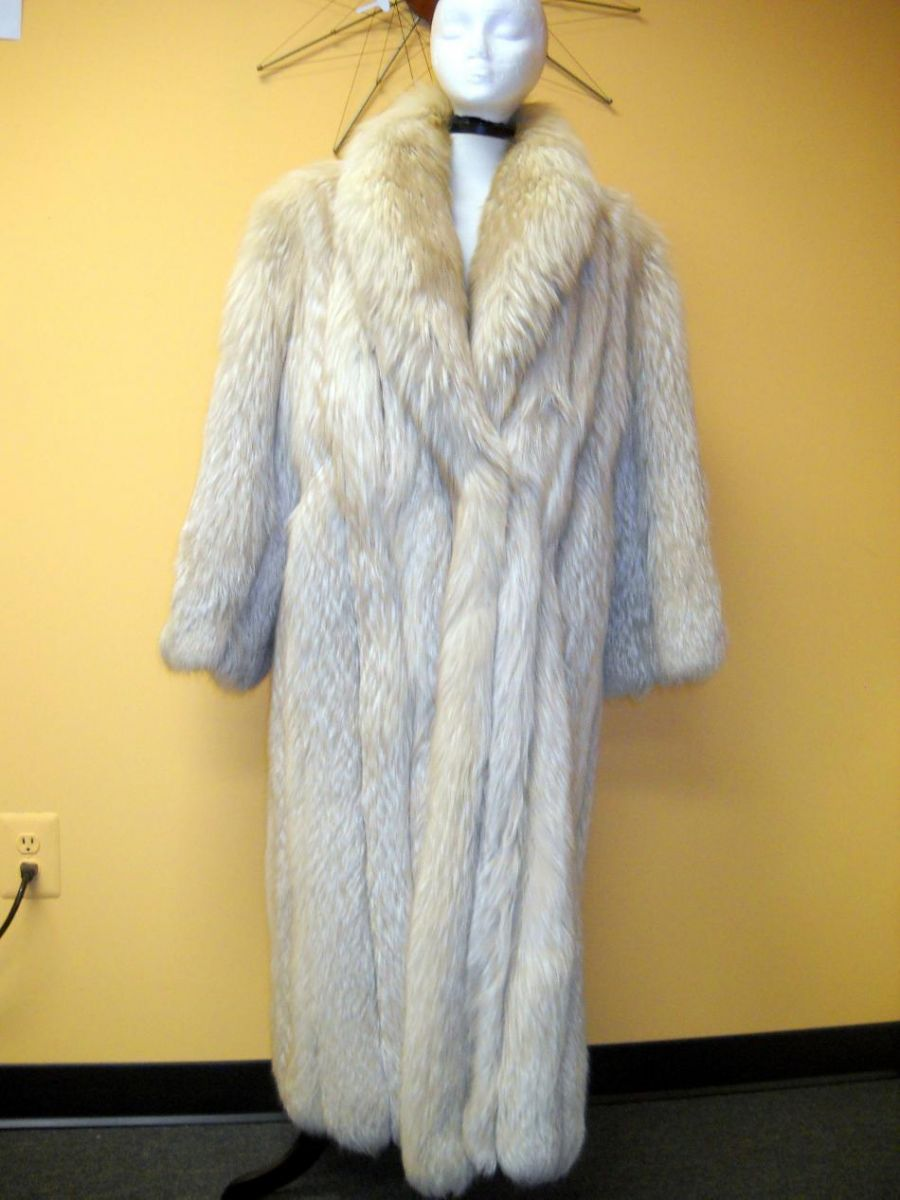 Full Length Platinum Silver Fox Fur Coat | Curiosity Consignment