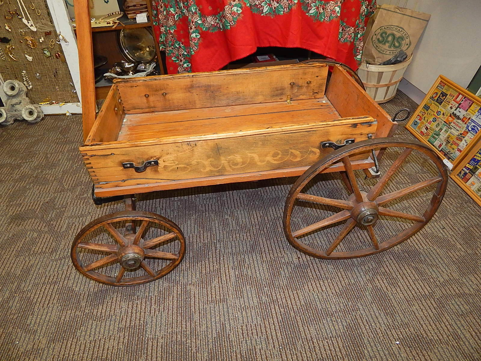 Antique Express Childs Toy Wood Wagon Curiosity Consignment