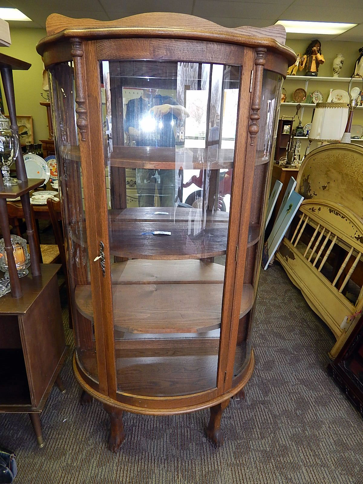 Antique Curved Claw Foot Oak Curio Display Cabinet - Antique Curved Claw Foot Oak Curio Display Cabinet Curiosity
