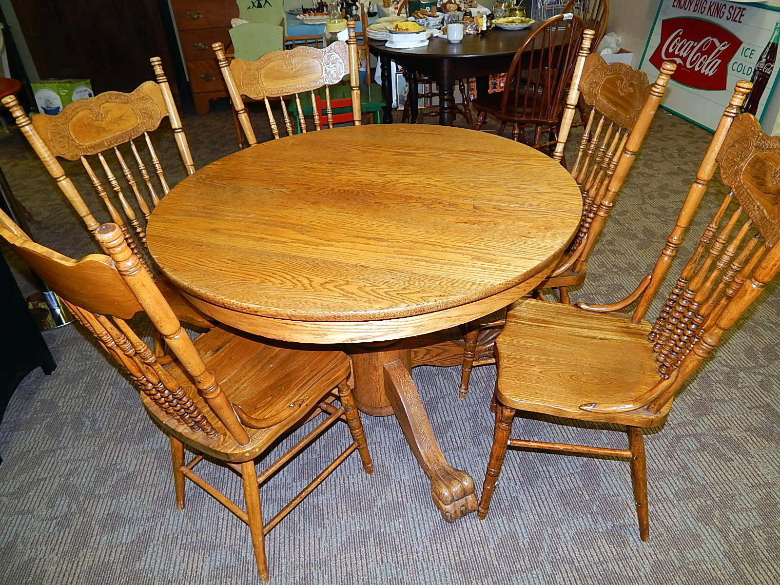 Antique Oak Clawfoot Round Table W Carved Chairs Curiosity Consignment