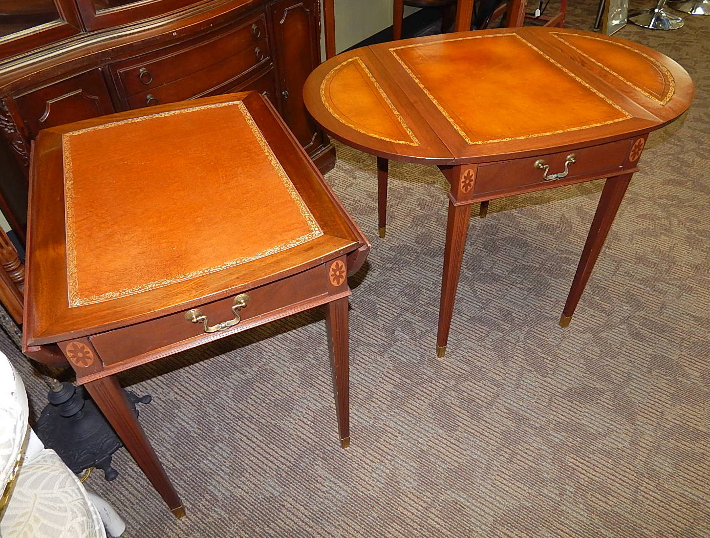 Pair Mahogany Pembroke Chippendale Drop Leaf Leather Top End Table