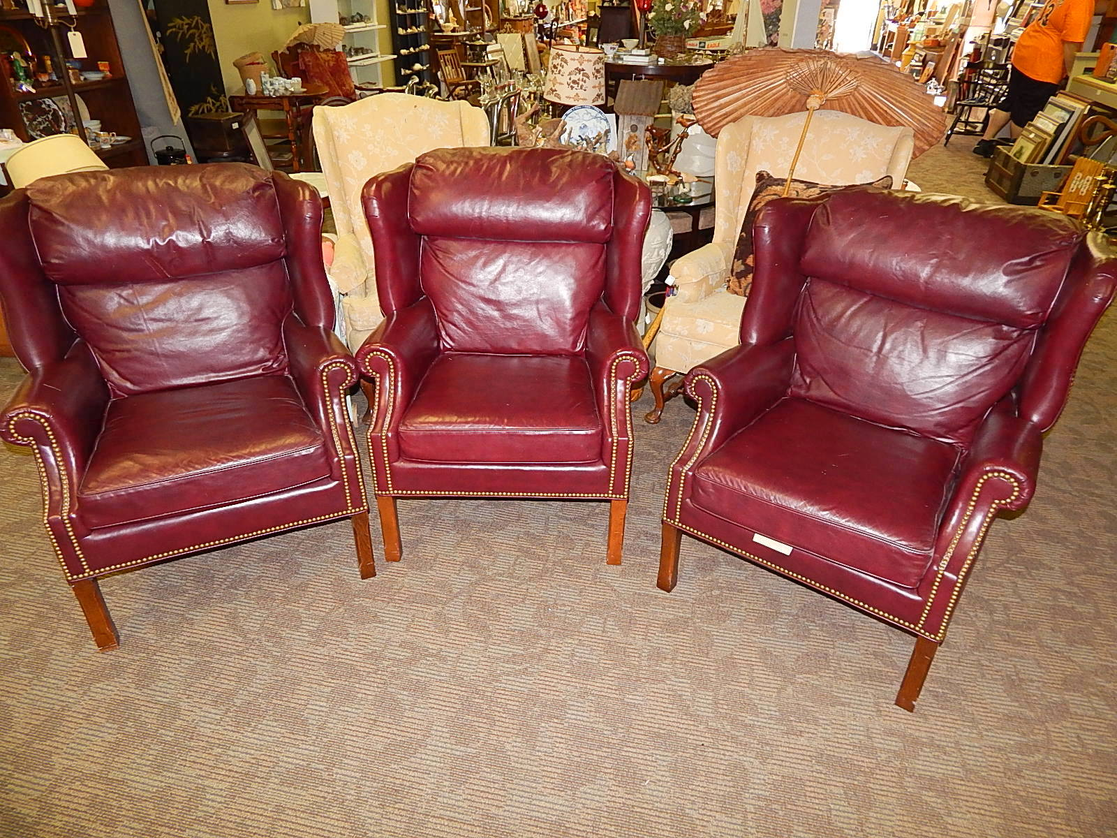 Leathercraft USA Burgundy Wingback Nail Head Lounge Chair (3 Avail)
