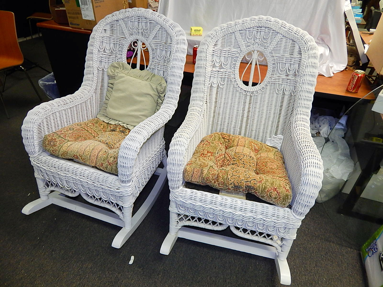 Lovely Henry Link White Wicker Rocking Chair 2 Available