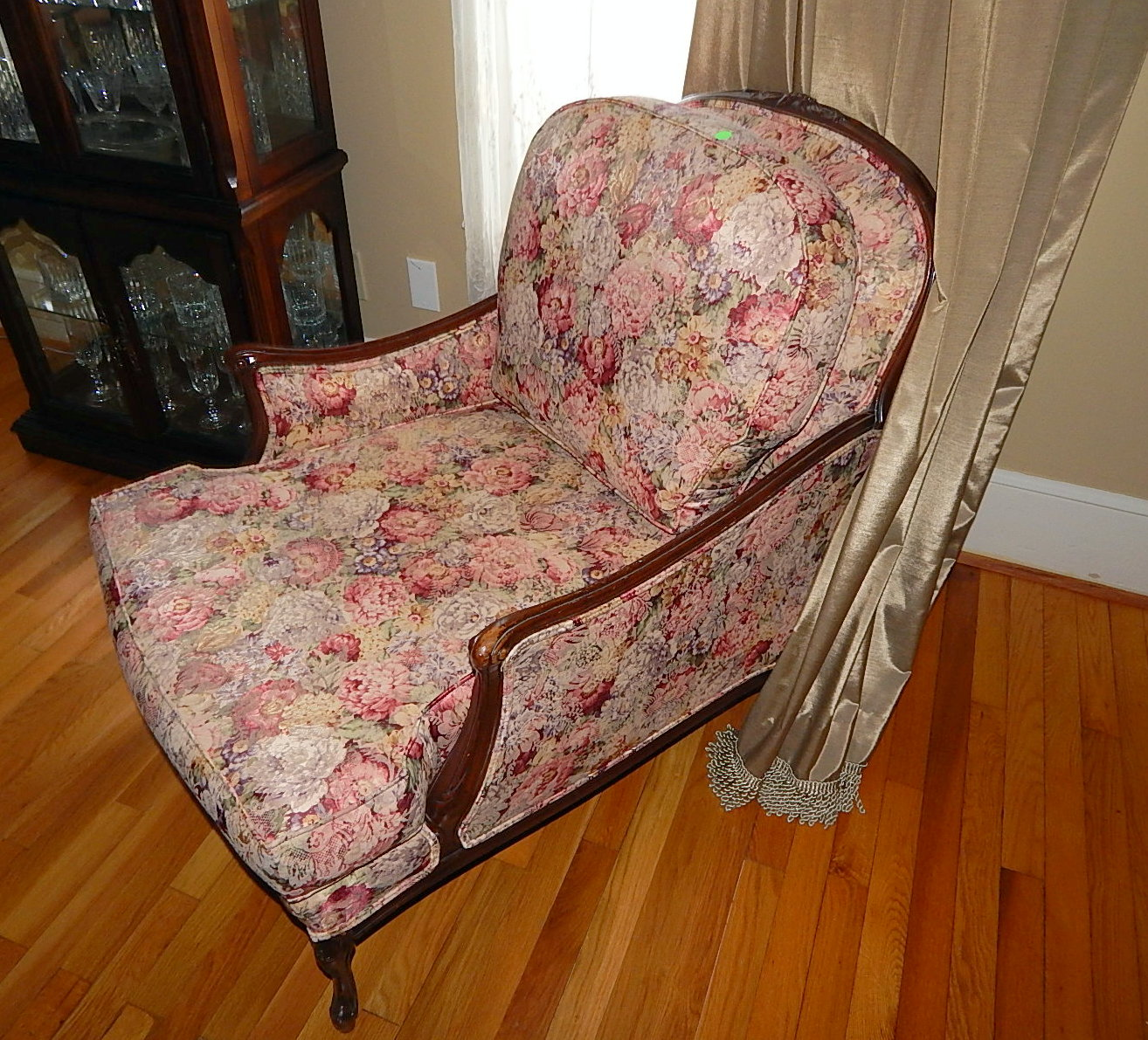 Queen Anne Papasan Oversized Chaise Lounge Chair Floral Curiosity