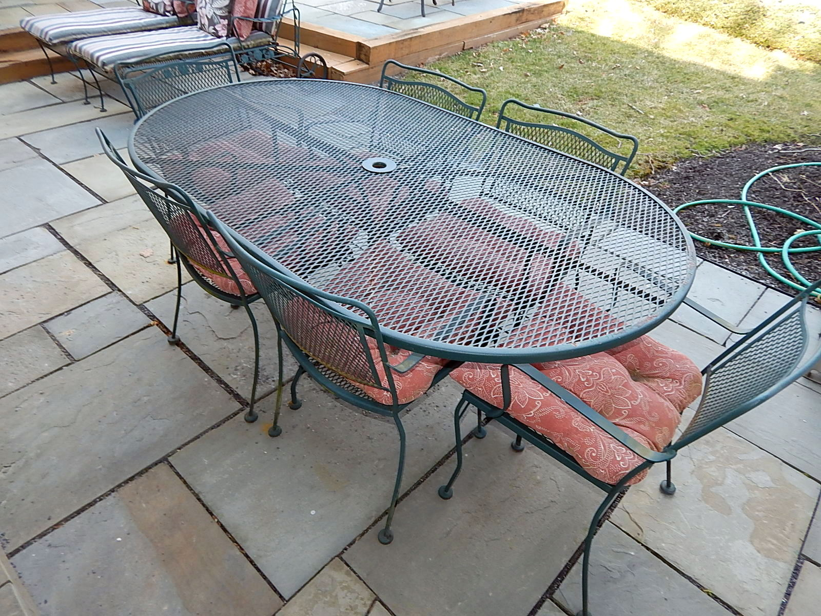 6 Oval Wrought Iron Patio Table W Chair Set
