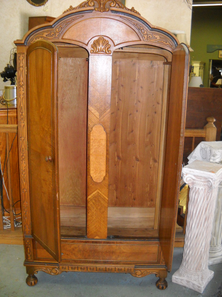 Antique Carved Walnut Armoire Wardrobe | Curiosity Consignment