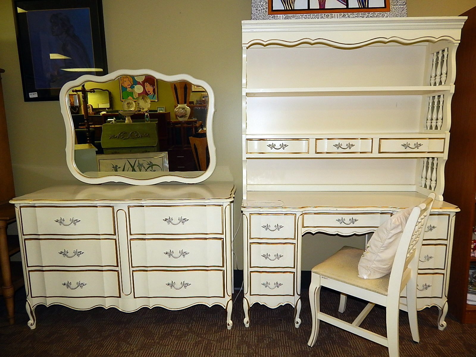 french provincial desk and dresser bedroom set | curiosity consignment