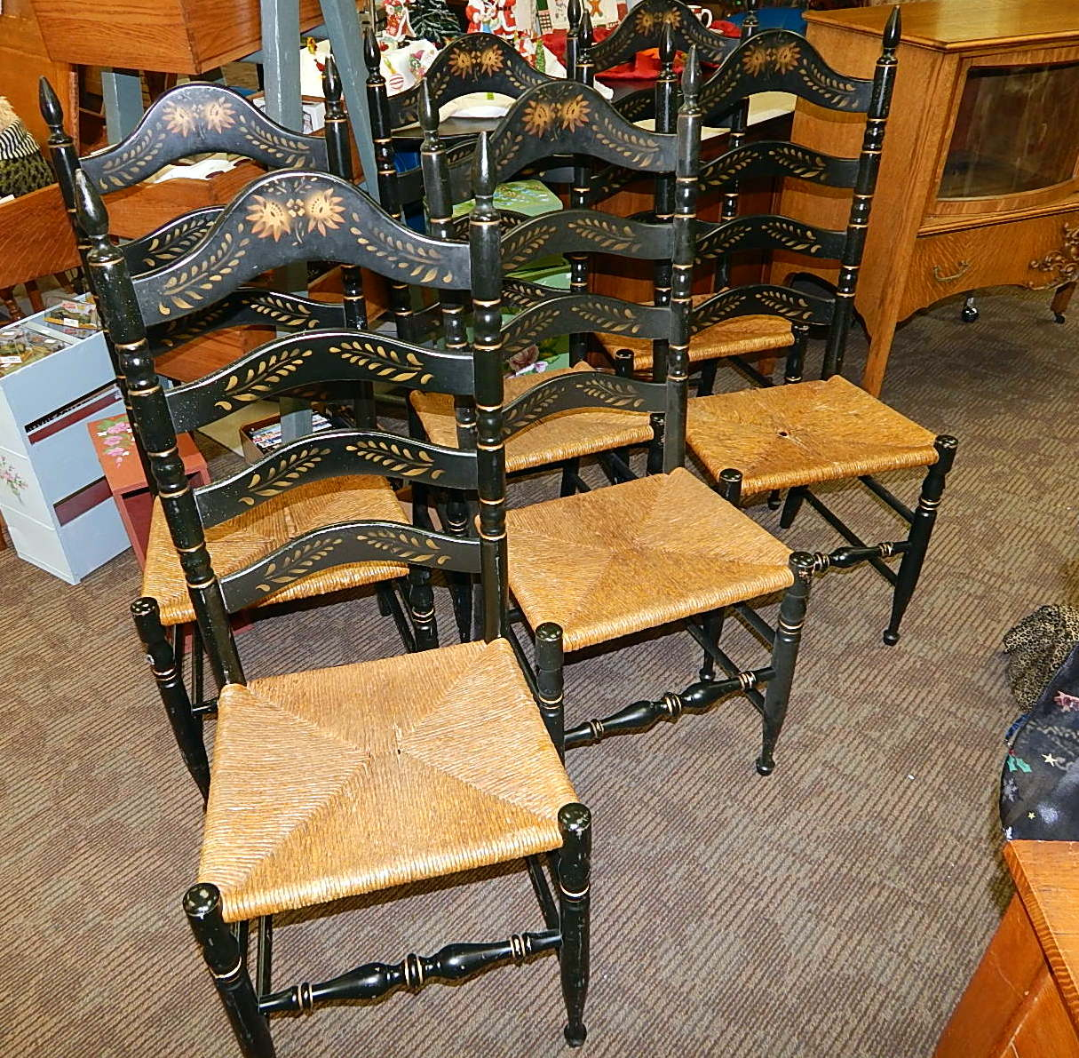 Picture of: 6 Hitchcock Black Harvest Rush Ladder Back Dining Chairs Curiosity Consignment