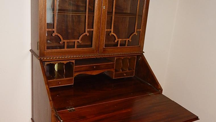 Chippendale traditional cherry drop front secretary desk hutch