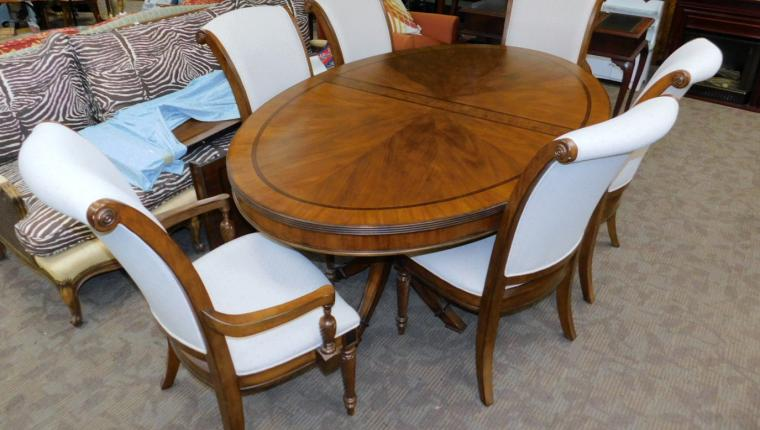 Lacquer Craft French transitional mahogany oval dining table w chairs