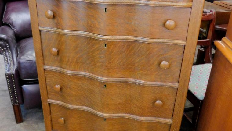 Antique tiger oak serpentine front chest dresser