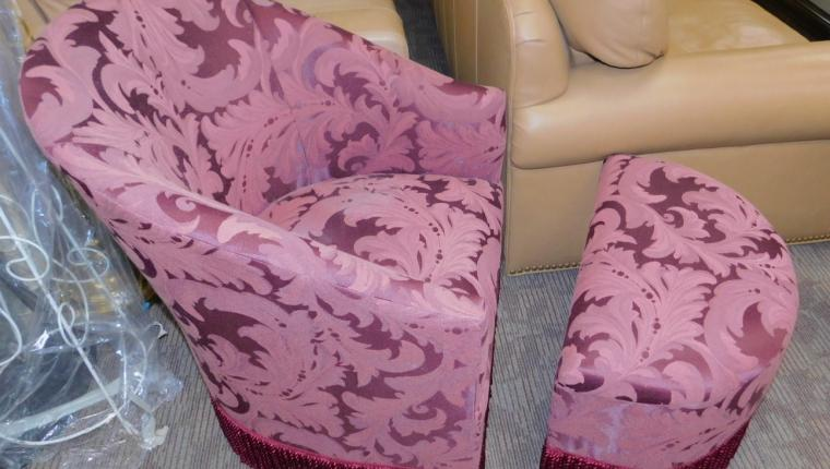 Small violet tassled arm lounge chair w ottoman Chicago Mfg