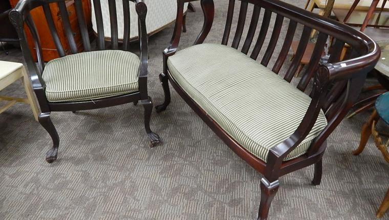 Antique Empire Gothic Revival settee bench couch parlor accent chair
