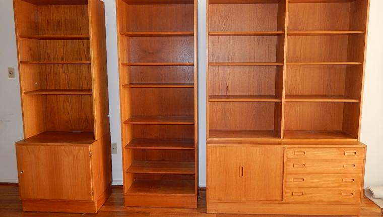 Mid Century Danish Modern Hundevad Teak Book Shelf Wall Unit Cabinet Console Set