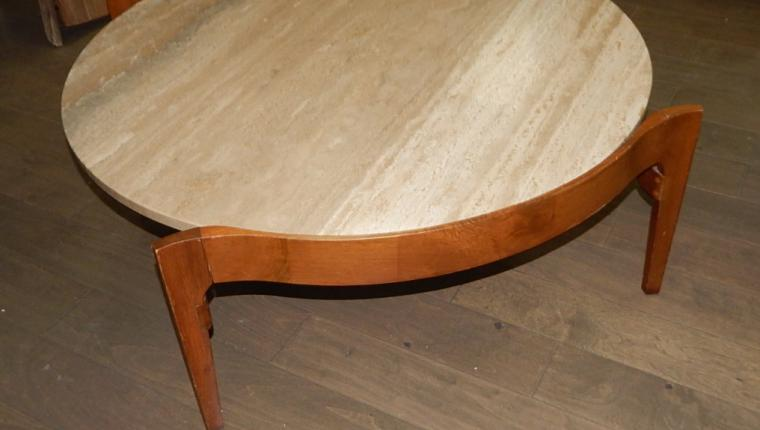 Mid Century W&Z Italian Travertine walnut marble round Coffee Table