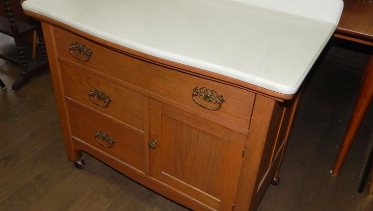 Antique mission oak chest alabaster top vanity sink cabinet