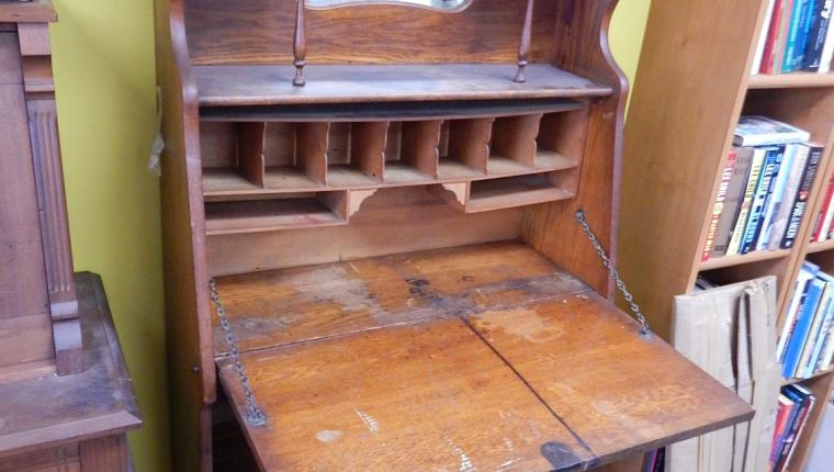 Antique Empire oak slant front desk book shelf