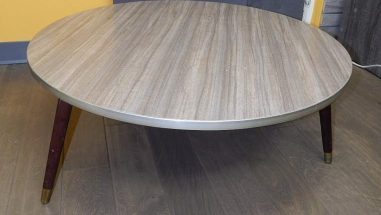 Mid Century MCM formica laminate round low coffee table