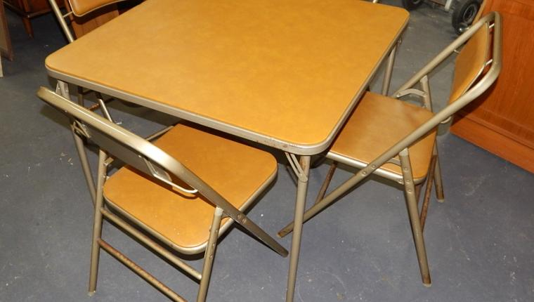 Mid century Samsonite folding retro card table chairs