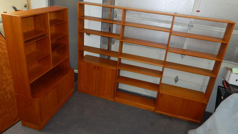 Mid Century Hundevad Teak Book Shelf Wall Unit Cabinet Console Set