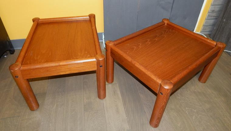 Pair Domino Mobler Denmark teak Mid Century night stands end tables