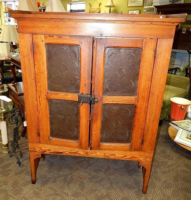 Antique Dutch Country Oak Pie Safe Cabinet