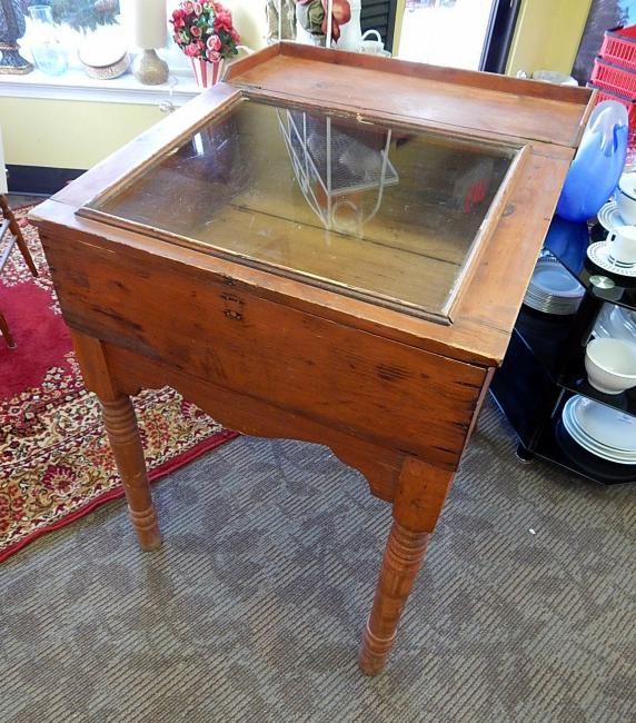 Early American Colonial style pine display cabinet slant top desk