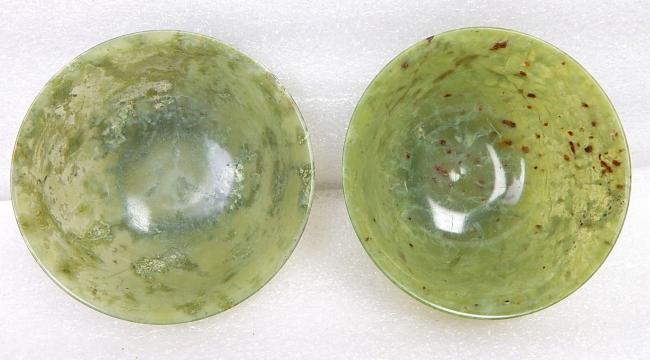 Ancient Pair Qing Dynasty Chinese Carved Jade Spinach Celadon Bowl Lot