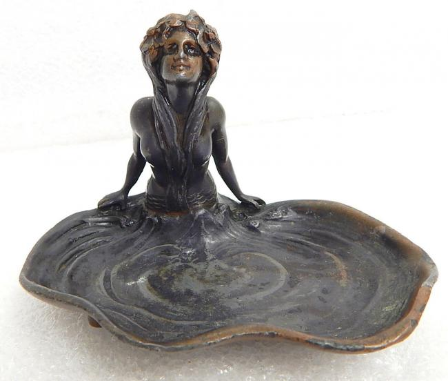 Antique Herbert Shivers Cigar Bronze Mermaid Figural Advertising Ashtray