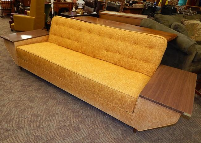 Mid Century gold Castro Convertible sofa bed futon couch