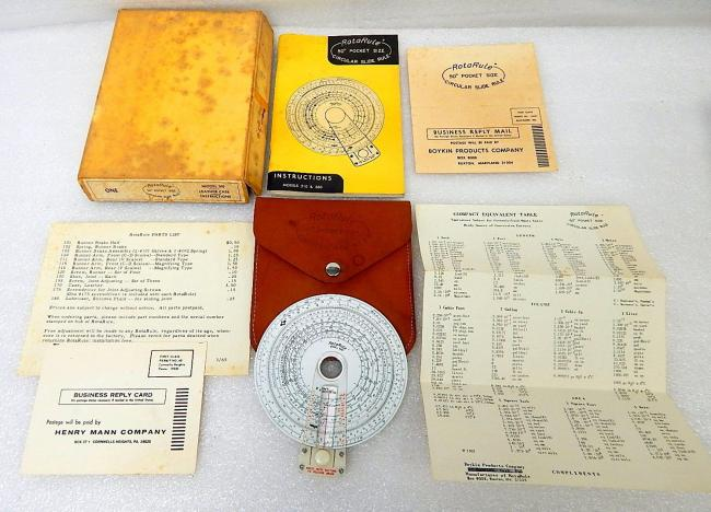 "Vintage Rotarule Boykin Model 560 50"" Pocket Circular Slide Rule"