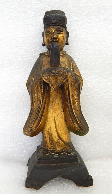 Antique Chinese Bronzed Cast Iron Wise Man Figure Statue
