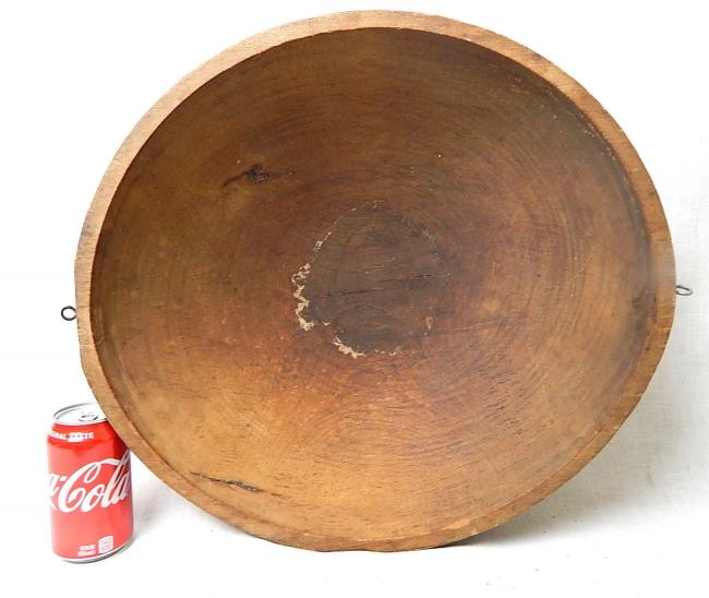 Antique large hard wood butter dough mixing bowl
