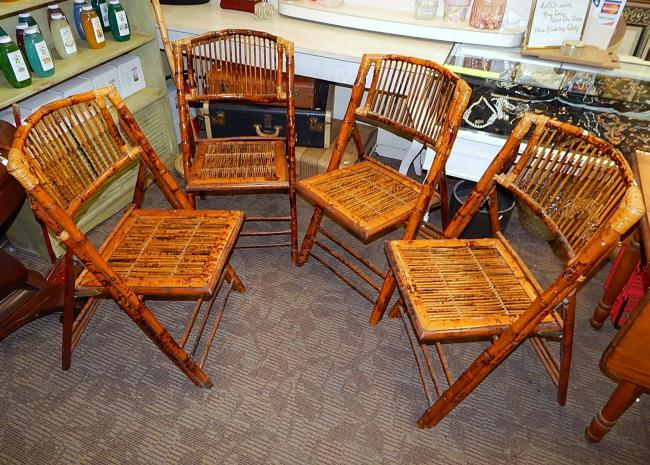 4 bamboo rattan rush folding dining chairs