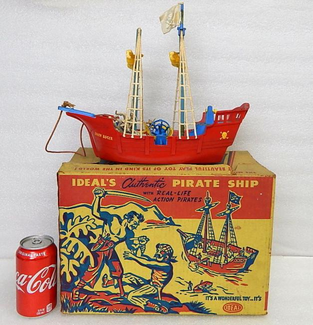 1950s Ideal Jolly Roger Pirate Ship Pull Toy Playset 4037 w Box