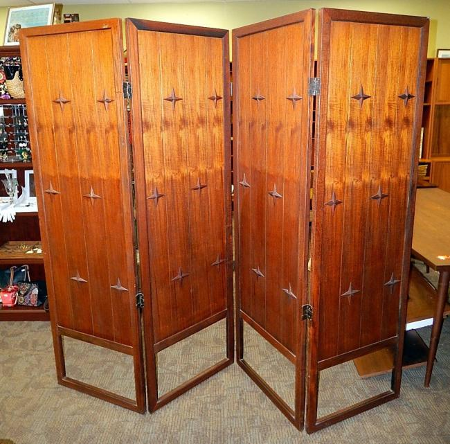 Mid Century modern Ricardo Lynn teak room divider folding screen partition