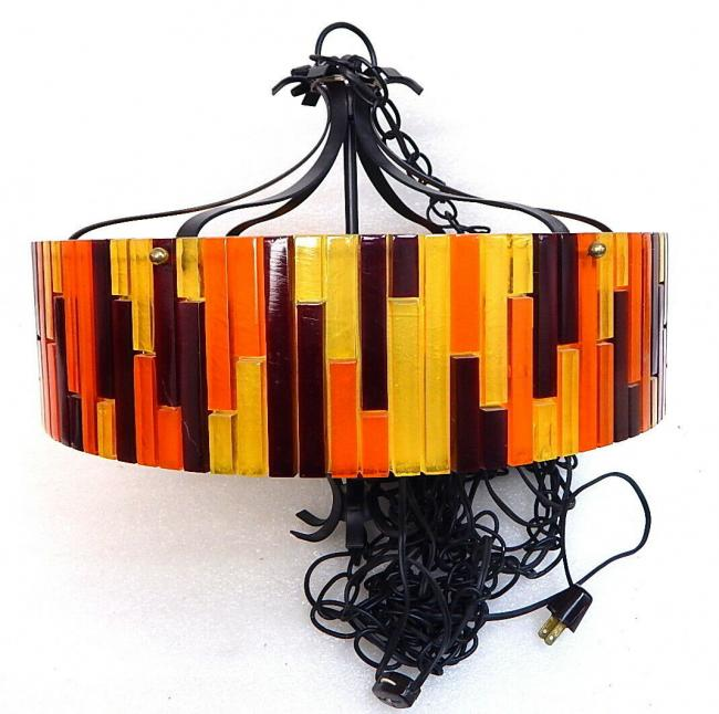 Moe Fiesta Mid Century lucite acrylic round hanging swag lamp ceiling light