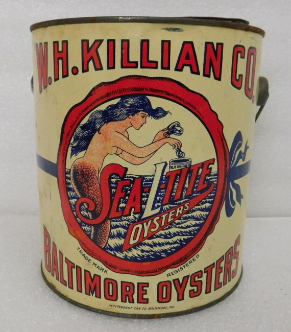1935 WH Killian SeaLTite Oysters tin can Baltimore MD