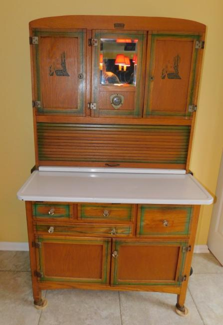 Antique Oak Hoosier Kitchen Cabinet Ariel Handy Helper