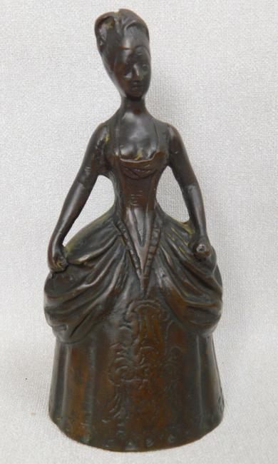 Antique Victorian large figural bronze woman lady dinner bell