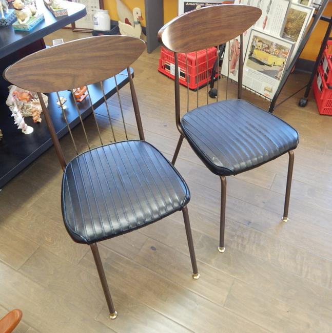 Chromcraft Mid Century Retro Black Dinette Bistro Chairs