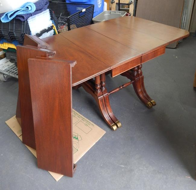 Vintage Sheraton Style Mahogany Monumental Drop Leaf Dining Table