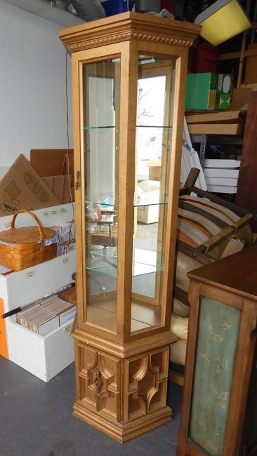 Mid Century Hollywood Regency Narrow Gold Curio Display Cabinet
